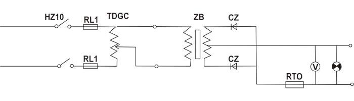 流变压器改变电压后输至硅整流元件(cz)组成的单相全波整流电路变换为